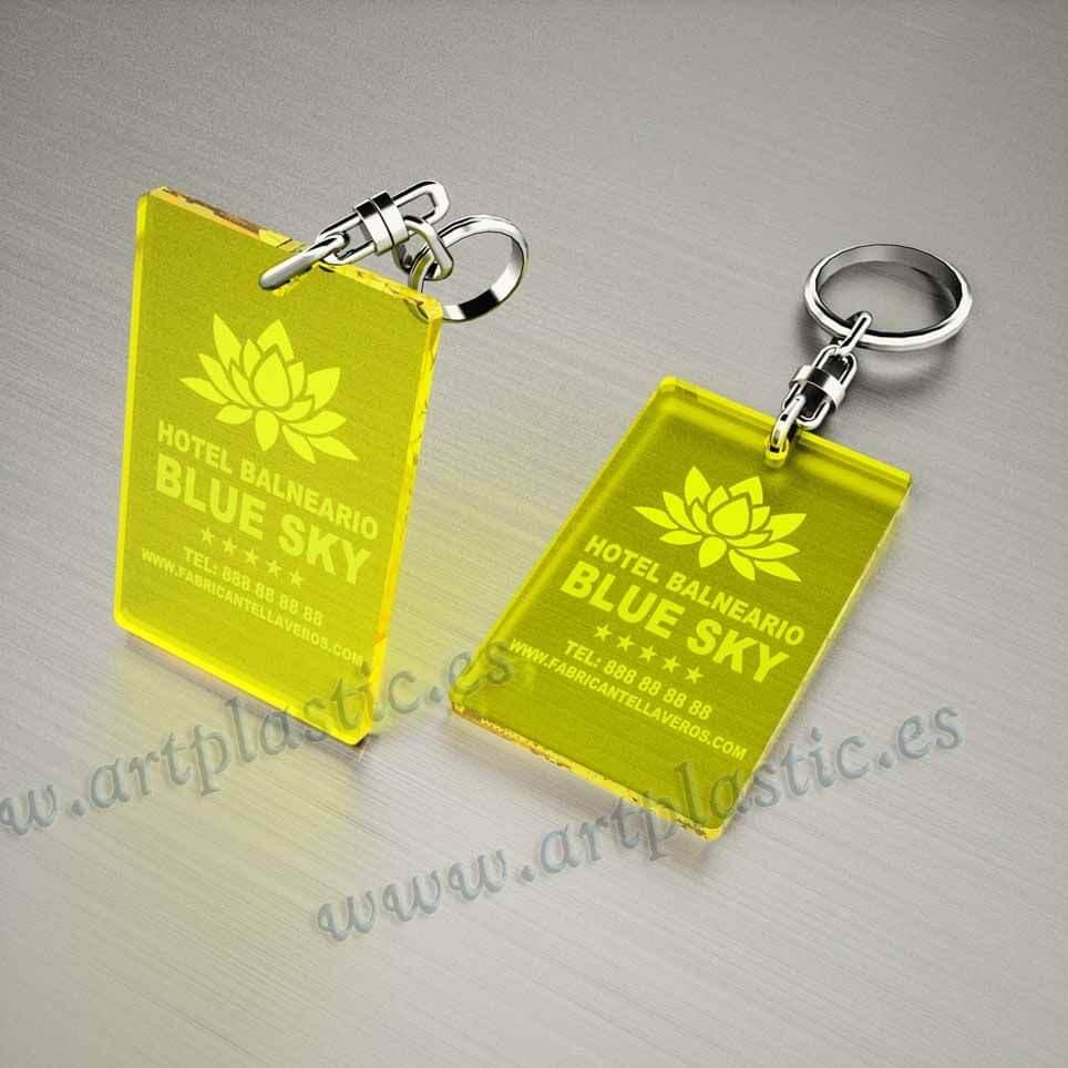 llaveros personalizados amarillos baratos rectangulares 80x50