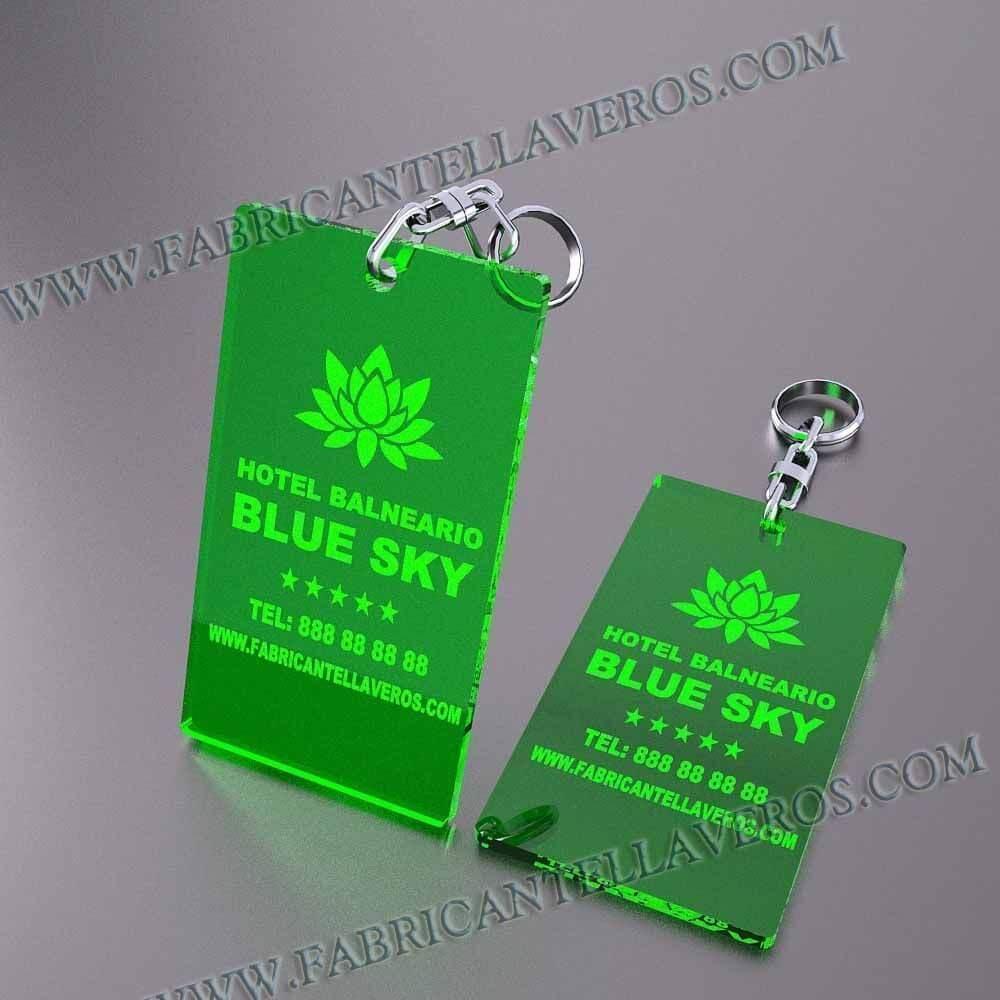 llaveros personalizados verdes baratos rectangulares 100x60
