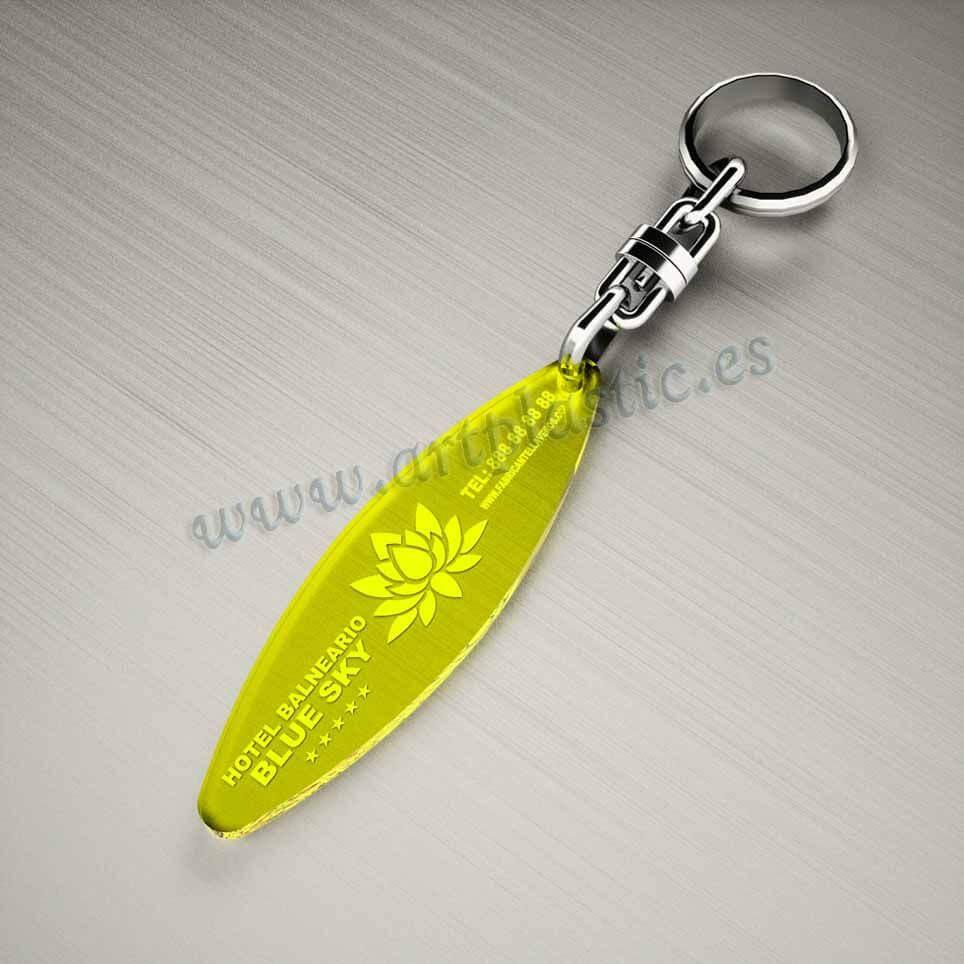 llaveros plastico personalizados originales amarillos baratos elipse