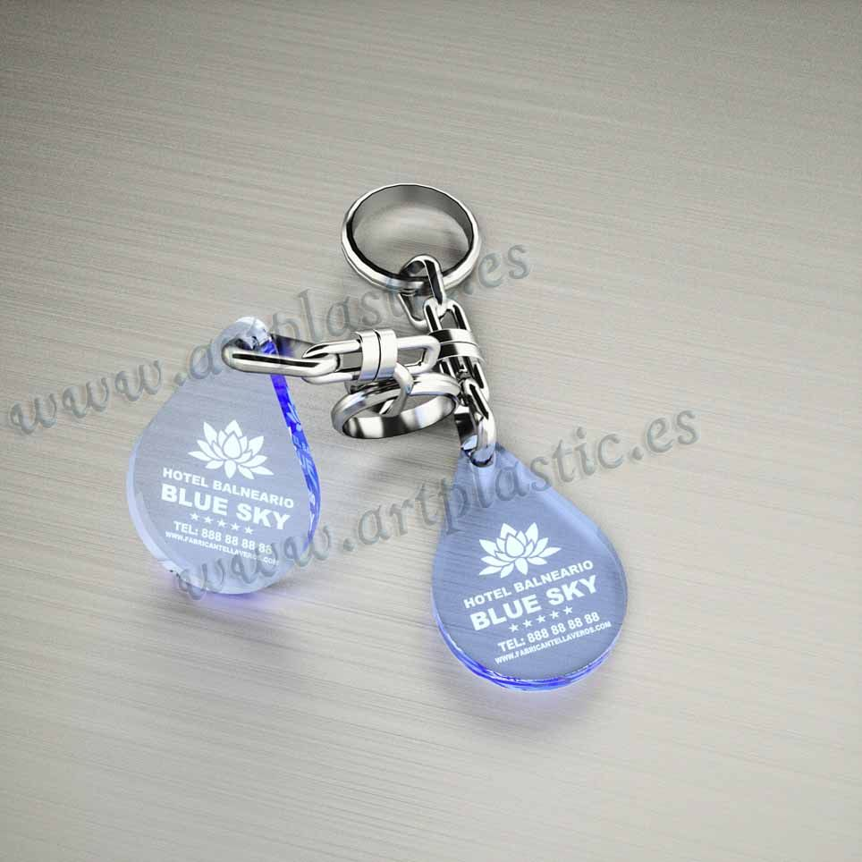 llaveros plastico personalizados originales azules baratos gota pequeños
