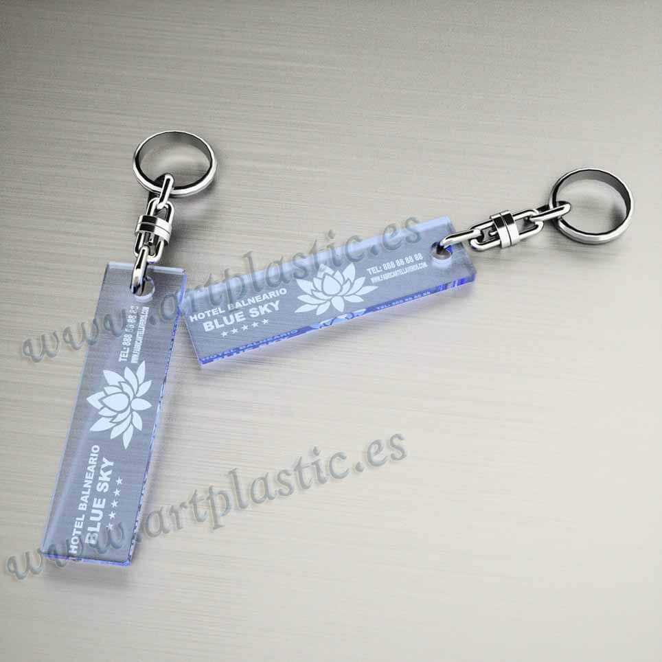 llaveros plastico personalizados originales azules baratos rectangulares 75x20