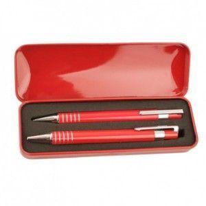 estuches metalicos boligrafos personalizado bolis rojo original