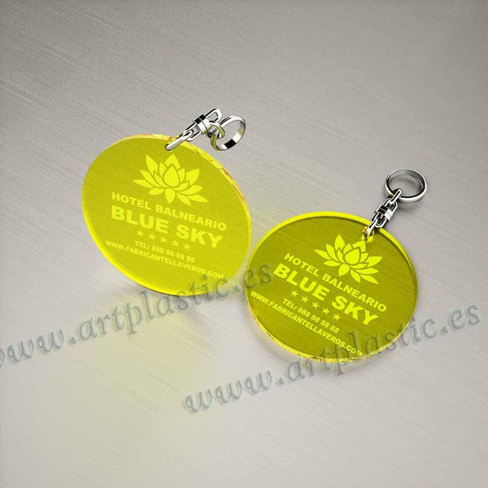 llaveros personalizado amarillos baratos redondos 50x50