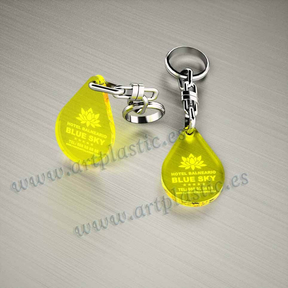 llaveros personalizados amarillos baratos gota pequeños