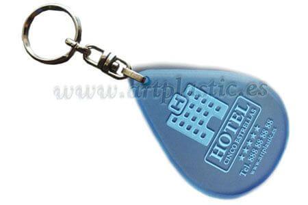 Llavero Personalizado forma gota de agua  Azul con Cadena