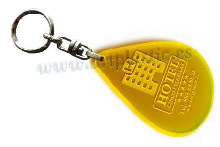 Llavero Personalizado forma gota de agua  Amarillo con Cadena