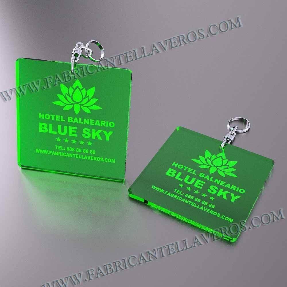 llaveros personalizados verdes baratos cuadrados 100x100