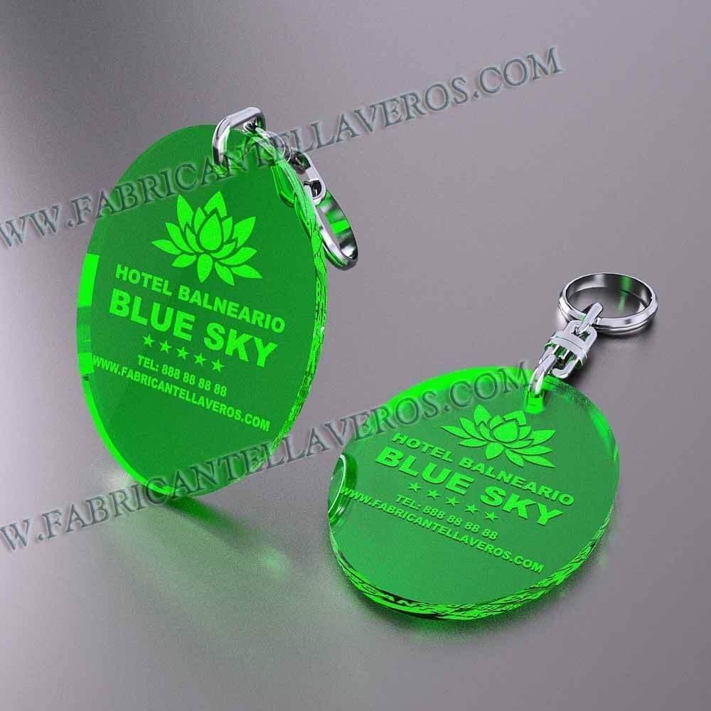 llaveros personalizados verdes baratos ovalados