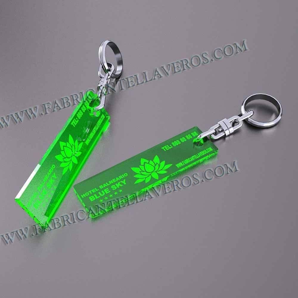 llaveros personalizados verdes baratos rectangulares pequeños