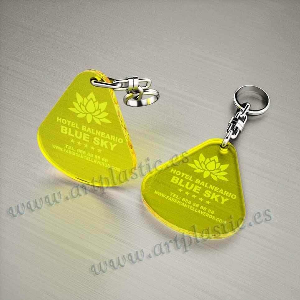llaveros plastico personalizados originales amarillos baratos gota grandes