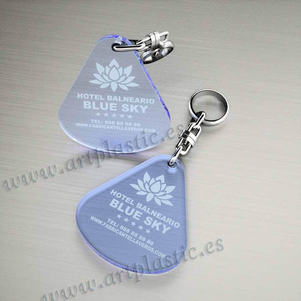 llaveros plastico personalizados originales azules baratos gota grandes